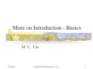 More on Introduction - Basics
