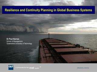 Resilience and Continuity Planning in Global Business Systems