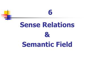 Sense Relations  &  Semantic Field