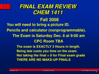 FINAL EXAM REVIEW CHEM 1411