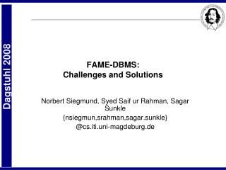 FAME-DBMS: Challenges and Solutions