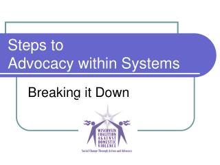 Steps to Advocacy within Systems