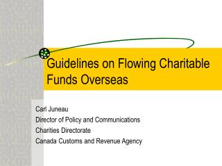 Guidelines on Flowing Charitable Funds Overseas