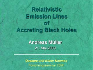 Relativistic Emission Lines of Accreting Black Holes