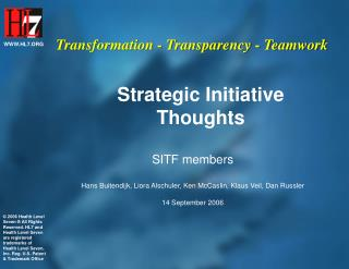 Strategic Initiative Thoughts