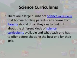 Science Curriculums