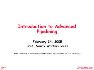 Introduction to Advanced Pipelining