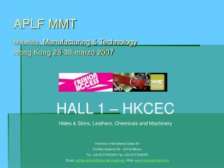 APLF MMT Materials , Manufacturing & Technology Hong Kong 28-30 marzo 2007