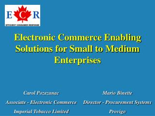 Electronic Commerce Enabling Solutions for Small to Medium Enterprises
