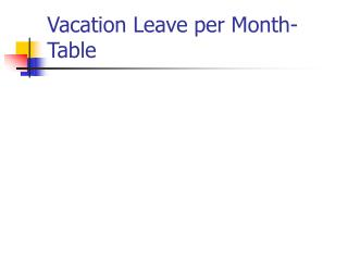 Vacation Leave per Month-Table