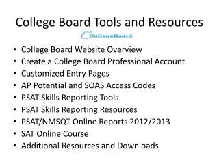 College Board Tools and Resources