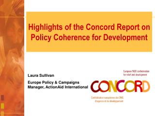 Highlights of the Concord Report on Policy Coherence for Development