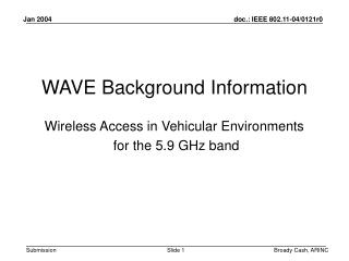 WAVE Background Information