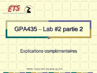 GPA435  –  Lab #2 partie 2