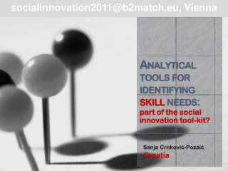 Analytical tools for identifying  skill  needs :  part of the social innovation tool-kit?