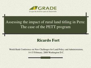Assessing the impact of rural land titling in Peru: The case of the PETT program