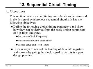 13. Sequential Circuit Timing