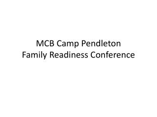 MCB Camp Pendleton Family Readiness Conference