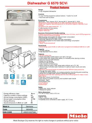 Dishwasher G 6570 SCVi