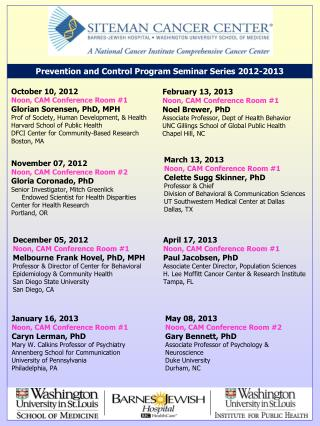 Prevention and Control Program Seminar Series 2012-2013