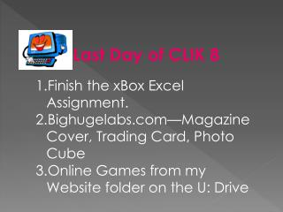 Finish the  xBox  Excel Assignment. Bighugelabs—Magazine Cover, Trading Card, Photo Cube