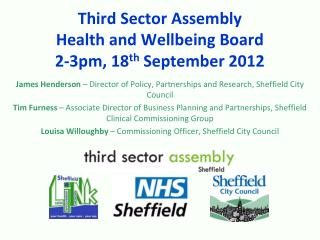Third Sector Assembly Health and Wellbeing Board 2-3pm, 18 th  September 2012