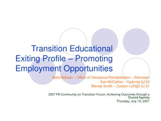 Transition Educational Exiting Profile – Promoting Employment Opportunities