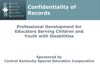 Professional Development for Educators Serving Children and Youth with Disabilities