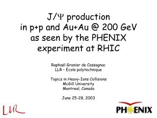 J/   production  in p+p and Au+Au @ 200 GeV  as seen by the PHENIX experiment at RHIC