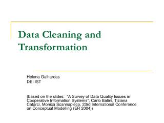 Data Cleaning and Transformation