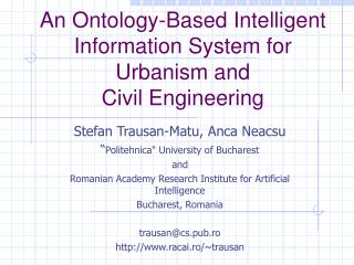 An Ontology-Based Intelligent Information System for Urbanism and Civil Engineering