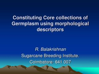 Constituting Core collections of Germplasm using morphological descriptors