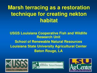 Marsh terracing as a restoration technique for creating nekton habitat