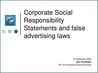 Corporate Social Responsibility Statements and false advertising laws