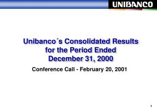 Unibanco´s Consolidated Results for the Period Ended  December 31, 2000