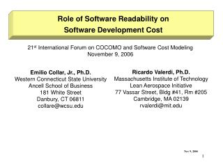 Role of Software Readability on Software Development Cost