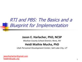RTI and PBS: The Basics and a Blueprint for Implementation