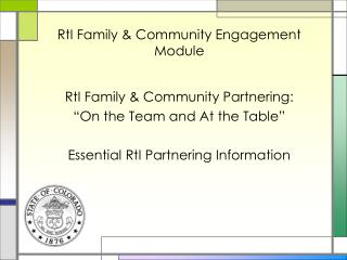 RtI Family & Community Engagement Module