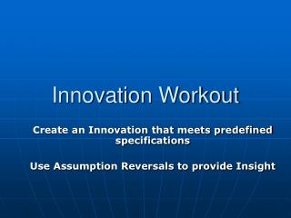 Innovation Workout