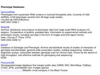 Phenotype Databases GenomeRNAi