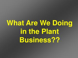 What Are We Doing in the Plant Business??