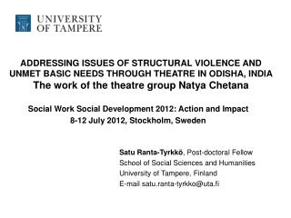 Social Work Social Development 2012: Action and Impact 8-12 July 2012, Stockholm, Sweden