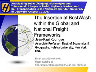 The Insertion of BostWash within the Global and National Freight Frameworks