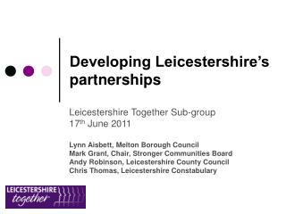 Developing Leicestershire's partnerships