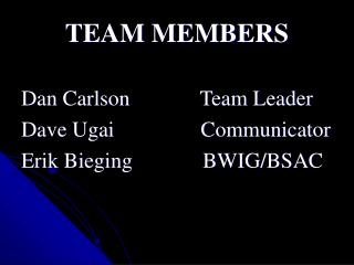 TEAM MEMBERS Dan Carlson             Team Leader Dave Ugai                Communicator