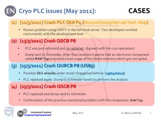 Cryo  PLC issues [May 2011]:                         CASES