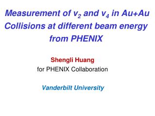 Measurement of v 2  and v 4  in  Au+Au  Collisions at different beam energy from PHENIX