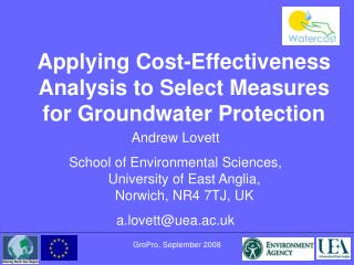 Applying Cost-Effectiveness Analysis to Select Measures for Groundwater Protection