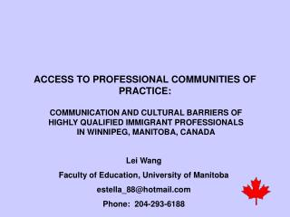 ACCESS TO PROFESSIONAL COMMUNITIES OF PRACTICE: