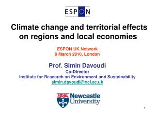 Climate change and territorial effects on regions and local economies